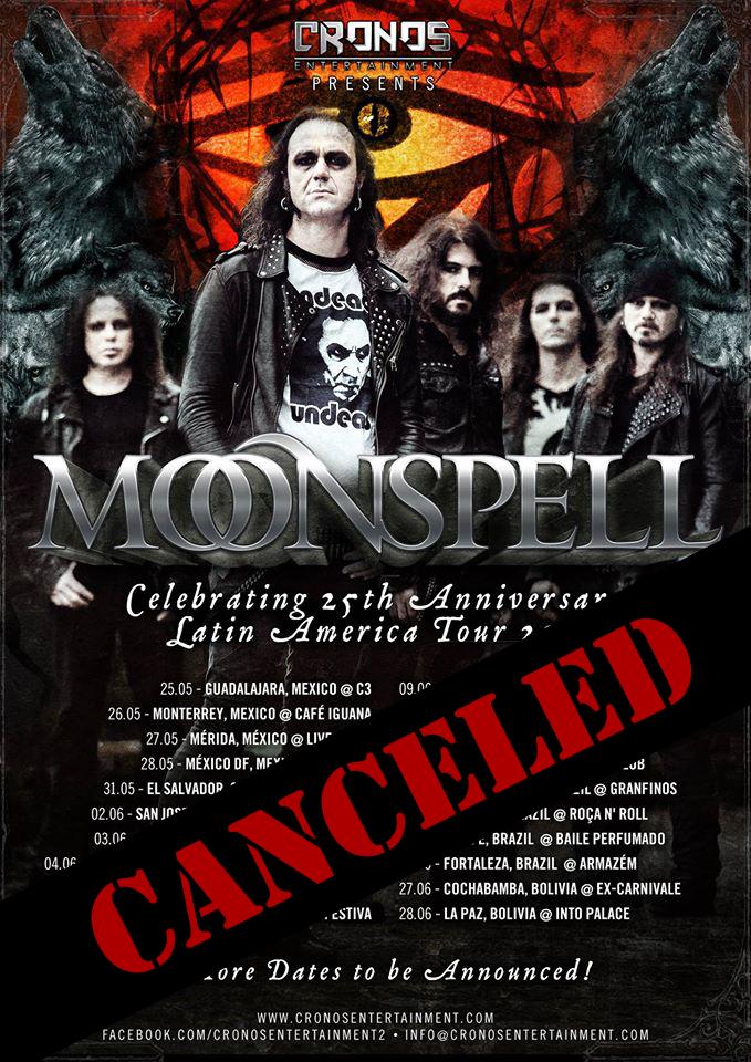 Tourabsage: Moonspell reisen nicht nach Latein-Amerika!